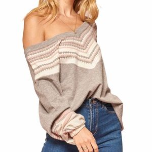 Promesa Say Anything Multicolor Wide VNeck Sweater